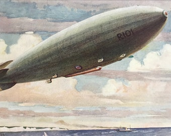 1927 R101 Airship Original Vintage Print - Aircraft - Airplane - Mounted and Matted - Available Framed