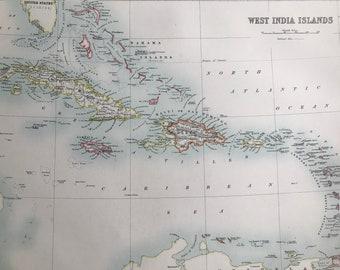1898 West India Islands Large Original Antique A & C Black Map - Caribbean - Jamaica - Bahamas - Cuba - Victorian Wall Decor - Gift Idea
