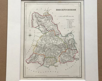 1845 Brecknockshire Original Antique Hand-Coloured Engraved Map - UK County Map - Available Framed - Wales