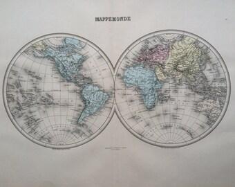 1892 MAPPE MONDE original antique world map, Nouvel Atlas Illustre, French atlas map, Geography, Cartography, Historical Map