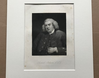 1877 Samuel Johnson Original Antique Engraving - Portrait - Writer - British History - Mounted and Matted - Available Framed