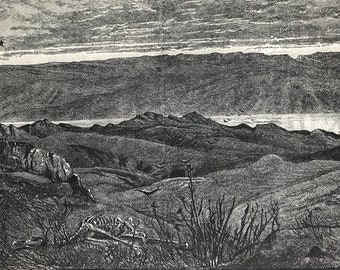 1880 The Wilderness of Judaea Original Antique Engraving - Mounted and Matted - Available Framed - Landscape - Israel - Palestine