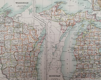 1898 Wisconsin and Michigan Large Original Antique A & C Black Map - United States - Victorian Wall Decor - Wedding Gift Idea