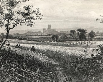 1883 Canterbury from Harbledown Original Antique Print - Kent - Landscape Engraving - Mounted and Matted - Available Framed