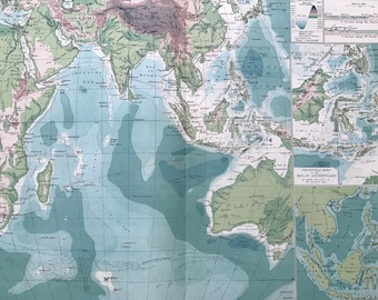 1903 Indian Ocean - Cables and Ocean Depths Large Original Antique Map with inset maps of the Malay Archipelago - Sargossa Sea