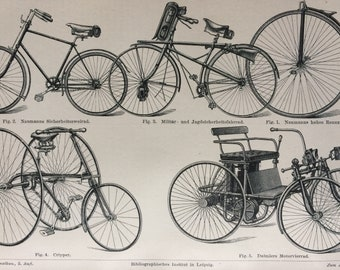 1895 Bicycle Original Antique Lithograph - Mounted and Matted - Bike - Cycling - Gift for Cyclist - Vintage Wall Decor