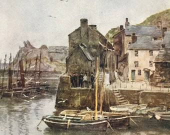 1925 Polperro Original Antique Print - Cornwall - England - Mounted and Matted - Available Framed