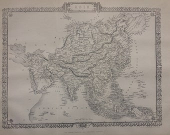 1870 Asia Original Antique Engraved Map - Decorative Art - Cartography - Wall Decor - Asian History - Continent Map