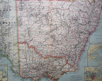 1903 South-East Australia Large Original Antique Map with insets of Port Philip, Port Adelaide and Port Jackson, New South Wales & Victoria