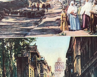 1940s Turkey Biyuk Mezaristan Cemetery and Cobbled Street in Istanbul Original Vintage Print - Mounted and Matted - Available Framed