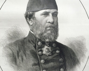 1877 Hobart Pasha, Turkish Commander, antique print from engraving, Illustrated London News Cover, 19th Century History