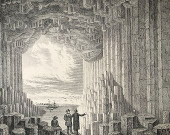 1891 Basalt, Fingal's Cave, Staffa Original Antique Print - Isle of Staffa - Hebrides - Scotland - Available Mounted, Matted and Framed