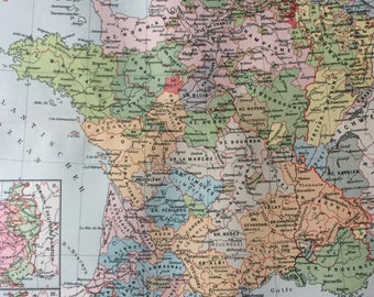 Map Of France 1500.French Vintage Map Etsy