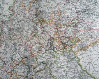 1903 Western Germany Large Original Antique Map, 15.5 x 20.5 inches, Harmsworth map