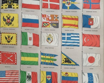 1875 International Flags and Standards Original Antique Lithograph - Matted and Available Framed - Vexillology - Flag Decor - Ensign