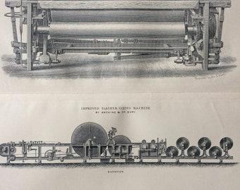 1905 Weaving Original Antique Print - Fustian Loom and Improved Slasher Sizing Machine - Wall Decor - Gift Idea