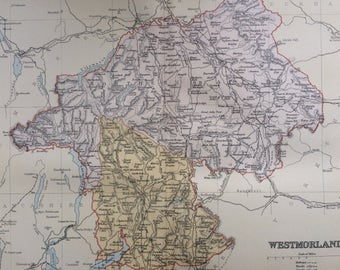 1895 Westmorland original antique map, english county, cartography, gift idea - Available Framed - Framed Map