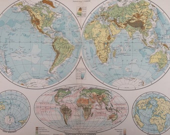 1920 The World in Hemispheres (Physical) Extra Large Original Antique World Map with inset map of Vegetation and Ocean Currents