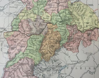 1902 County of Peebles Small Original Antique Map - Scotland - Scottish History - Wall Decor - Scottish County - Available Framed