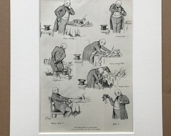 1895 The Tragic Story of a Lost Letter Original Antique Print - Mounted & Matted - Vintage Cartoon - Victorian Decor - Available Framed