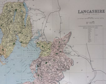 1868 Lancashire (North) Large Original Antique Map showing railways, roads & parliamentary divisions - UK County - Wall Map