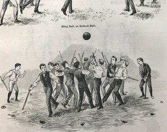 1895 Ball Games for Children Original Antique Print - Mounted & Matted - Sling Ball, Gauball, Shlaglaufen - Sports Decor - Available Framed