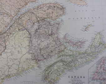 1882 Quebec, Nova Scotia, New Brunswick, Prince Edward Island and Newfoundland Large Original Antique Map, 15 x 22 inches, Map of Canada