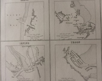 1871 Ports and Harbours on the West Coast of Scotland Original Antique Map - Rothesay, Largs, Ardrossan, Irvine, Troon and Campbelltown Bay