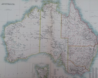 1898 Australia Extra Large Original Antique A & C Black Map with inset map of Tasmania - Australian Counties - Australasia - Wall Decor