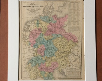 1855 Germany, Switzerland and Northern Italy Original Antique hand coloured Map - Central Europe - Available Mounted and Matted