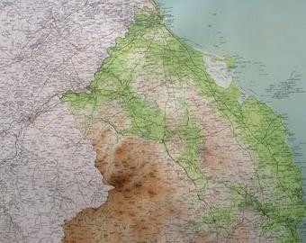 1903 BERWICK & ALNWICK Large Original Antique Map, 17.5 x 23 inches, historical wall decor, Bartholomew map, Home Decor, Cartography