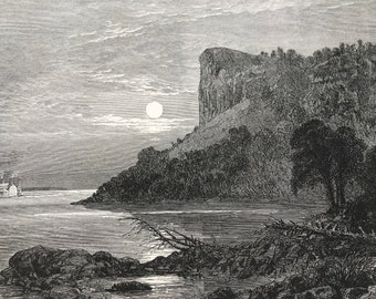 1874 Maiden's Rock, Lake Pepin - Minnesota Original Antique Engraving - Mounted and Matted - Landscape - Available Framed