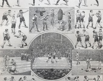 1923 Boxing Original Antique Print - Mounted and Matted - Decorative Art - Wall Decor - Sports - Vintage Bar Decor - Available Framed