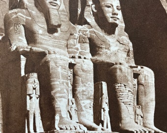 1940s Temple of Abu Simbel Original Vintage Sepia Photo Print - Mounted and Matted - Egypt - Rameses II - Nubia - Available Framed