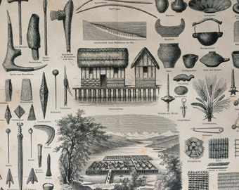 1877 Prehistoric Pile Dwellings and Artefacts Large Original Antique print - Available Mounted and Matted - Archaeology
