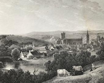 1817 Jedburgh - Roxburghshire Original Antique Engraving - Scotland - Borders - Vintage Wall Decor - Available Framed