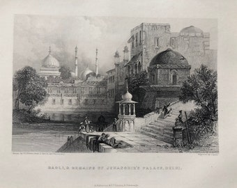 1871 Baoli & Remains of Jehanghir's Palace, Delhi Original Antique Steel Engraving - India - Mounted and Matted - Available Framed