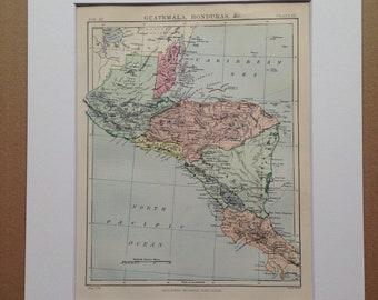 1875 Central America Original Antique Map - Nicaragua, Guatemala, Honduras, El Salvador, Panama - Available Matted and Framed