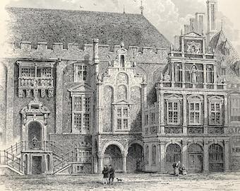 1876 Hotel de Ville, Haarlem Original Antique Wood Engraving - Mounted and Matted - Available Framed - Netherlands - Holland