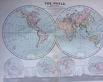 1891 Original Antique World Map - World in Hemispheres - Physical Map 9 x 12 Inches - Map of the World - Cartography - Wall Decor