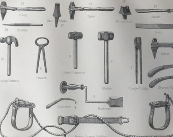 1880 Farriery - Farrier's Tools & Implements Original Antique Print - Horse Shoe - Gift for Farrier - Mounted and Matted - Available Framed