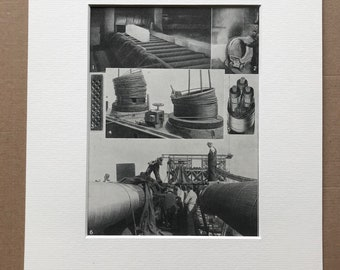 1940s How Wire is made and some of its many uses Original Vintage Print - Mounted and Matted - Technology - Available Framed