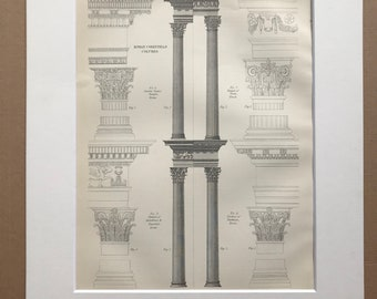 1875 Roman Corinthian Column Architecture Original Antique Matted Engraving - Temple of Architecture - Rome - Matted & Available Framed