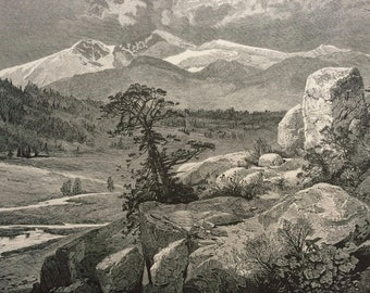 1874 Longs Peak, from Estes Park, Rocky Mountains, Colorado Original Antique Wood Engraving - Mounted and Matted - Landscape - United States