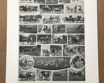 1933 Carriages Original Antique Print - Horse and Carriage - Mounted and Matted - Available Framed