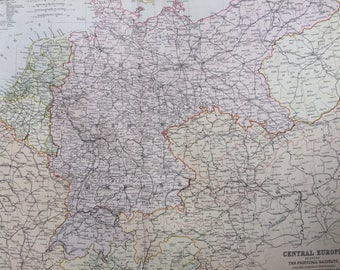1882 CENTRAL EUROPE showing principal railways and political boundaries at the close of the Franco-German War Large Original Antique Map