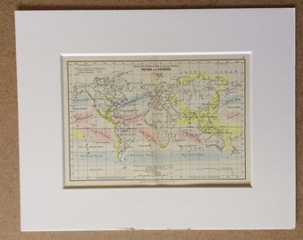 1895 Winds and Storms Original Antique World Map - Mounted and Matted - 8 x 10 inches - Framed Map - Gift Idea - Framed Vintage Art