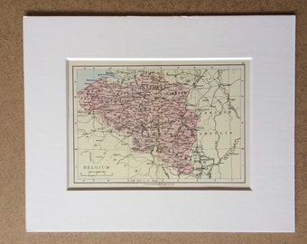 1895 Belgium Original Antique World Map - Mounted and Matted - 8 x 10 inches - Framed Map - Gift Idea - Framed Vintage Art