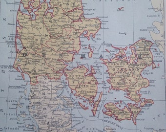 1875 Denmark Original Antique Map, Danish History, Zealand, Cartography, Decorative Wall Map