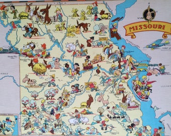 1935 Missouri Original Vintage Cartoon Map - Ruth Taylor - Available Mounted and Matted - Whimsical Map - United States